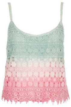 Dip Dye Crochet Cami - Cami's & Vest Tops - Tops - Clothing on Wanelo