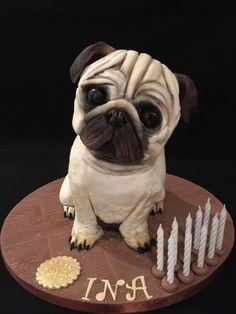Pug cake - cake by Galatia Pug Cake, Bulldog Cake, Fancy Cakes, Cute Cakes, Pug Birthday Cake, Realistic Cakes, Carlin, Fondant Animals, Sculpted Cakes
