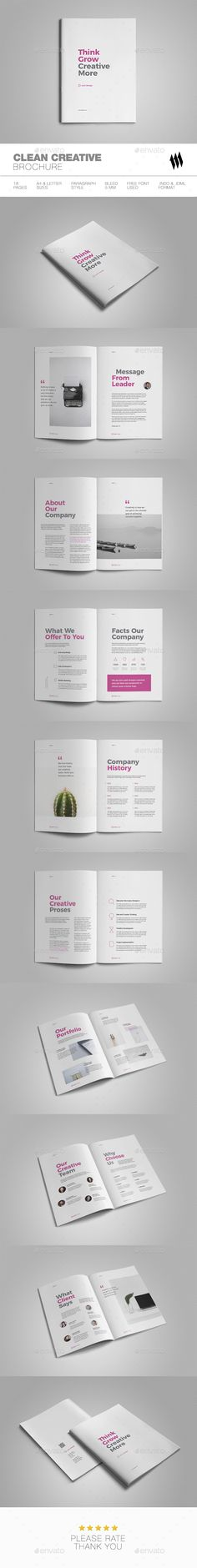 Clean Creative Brochure Template InDesign INDD - 18 Pages, A4 and Letter Size