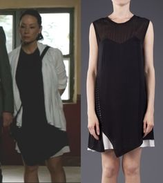 Elementary Season 2, Episode 6: Joan Watson's (Lucy Liu) 3.1 Phillip Lim Trom L'oeil Layered tee dress in black and white  #getthelook #elementary #joanwatson