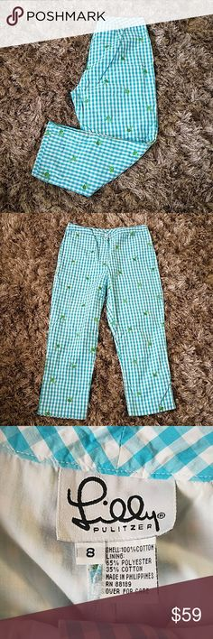 """Lilly Pultizer Gingham Crop Ice Cream Cone Lilly Pultizer Aqua Blue Gingham with Green Ice Cream Cone Embroidery Womens size 8 Waist 15"""" Inseam 23.5"""" Rise 10"""" Lilly Pulitzer Pants Ankle & Cropped"""