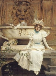 Vittorio Matteo Corcos (1859-1933) Waiting by the Fountain