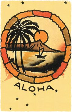 112 Hawaii Aloha Port vintage Sailor Jerry Traditional style Flash poster print