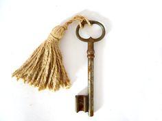 French Vintage Rusty Skeleton Key with burlap tassel