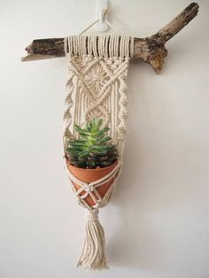 Macrame Plant Hanger Wall Hanging for mini pots. Indoor