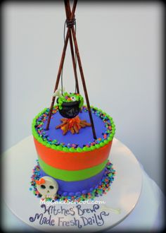 Witchy Brew cake tutorial|by my cake school.      Looks like fondant, but actually buttercream. I like that.