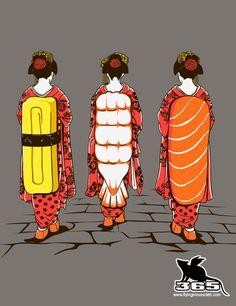 Sushi Ladies illustration by Malaysian designer Chow Hon Lam (aka flyingmouse365)
