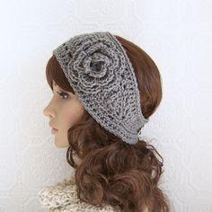 Crochet headband, headwrap, ear warmer - medium gray - crochet ...