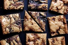 """Brittle and jam blonde brownies from Joy the Baker - Eat Your Books is an indexing website that helps you find & organize your recipes. Click the """"View Complete Recipe"""" link for the original recipe. Just Desserts, Delicious Desserts, Dessert Recipes, Yummy Food, Baking Recipes, Blonde Brownies, Joy The Baker, Toasted Pecans, Eat Dessert First"""