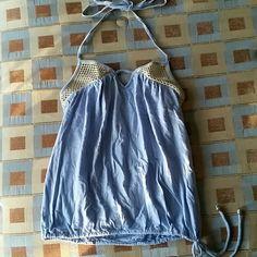 VS halter Bra top with drawstring waist. Super cute for summer! Victoria's Secret Tops
