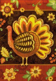 """Turkey, Flowers, Leaves 12.5""""x18"""" Folk Art Thanksgiving Garden Flag   #MagnetWorks"""