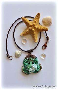 #polymerclay, #pendant, #crab, #sea, #art, #marine, #polymerclaycreations, #etsy, #etsyshop, #jellyfish, #turquoise