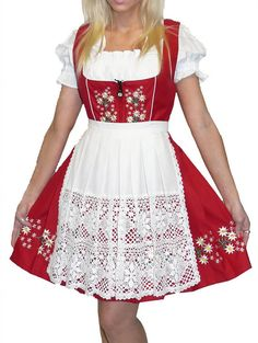 3-Piece Short Red German Dirndl Dress 6 8 10 16 by TrachtenWorld