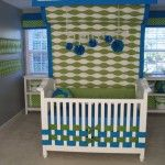 woven ribbons on crib instead of a skirt that hides behind the bars anyway. brilliant!