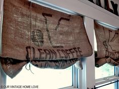 Coffee bean sacks used as window coverings in kitchen at Our Vintage Home. I like these better than the frayed edge ones.