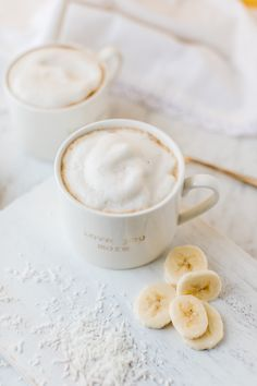"Vegan Gluten free · Co-host of HGTV Canada's ""Love It or List It Vancouver"" & Former Bachelorette, Jillian Harris, shares her creamy banana coconut latte recipe. Tea Recipes, Coffee Recipes, Smoothie Recipes, Cooking Recipes, Smoothies, Cooking Corn, Yummy Drinks, Healthy Drinks, Yummy Food"
