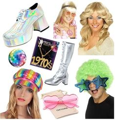 disco Disco Accessories at SImplyeighties. Disco Girl Costume, 70s Disco Outfit, 1970s Disco, 1970s Costumes, Girl Costumes, Disco Fashion, 70s Fashion, Fancy Dress Accessories, Costume Accessories