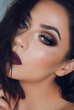 Burgundy Red Matte Lips paired with Burgundy Red Eyeshadow