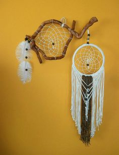 Large dream catcher, Wooden dream catcher, Bohemian decor,Rustic home decor, Macrame rope art, Unusual wall hanging
