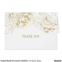 Folded Thank You Cards   Gold Floral Peony Design