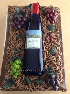 Italian Wine and Grapes Birthday Cake... This website is the Pinterest of birthday cake ideas