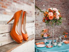 Vintage Vignettes Featured - Teal & Tangerine Inspiration on Wedding Obsession