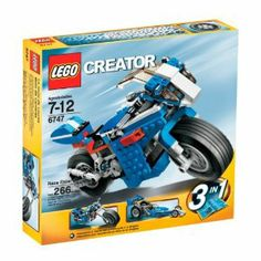 """LEGO Creator Race Rider by LEGO. $55.01. Build into a street racing bike, chopper motorcycle or dragster. Race Rider measures over 8"""" long. 3 models in 1 building experience. Working kick stand, front steering and adjustable wings and windshield are just some of the features on this super-cool sports bike. 266 pieces. From the Manufacturer                3-in-1: Race on or off the track with this super-cool sports bike with working suspension and steering. Then rebuild it i..."""