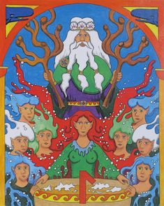 Aegir the Norse god of the deep sea with his nine daughters who represent the waves.  See notes on the image for more information on the symbolism.