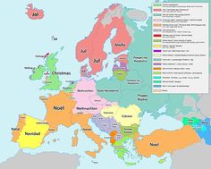Where does Christmas come from? Translations and etymologies of holidays in Europe [3065x2460] - Imgur
