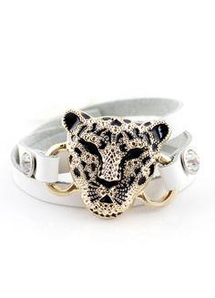 Gold Leopard White Multilayer Leather Bracelet US$8.00