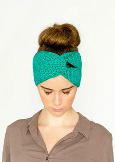 Twisted Turban Headband Crochet Pattern via Hopeful Honey