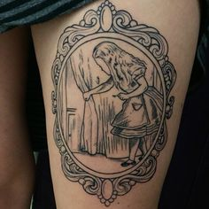 My Alice in Wonderland thigh tattoo- just the outline. So psyched about it…