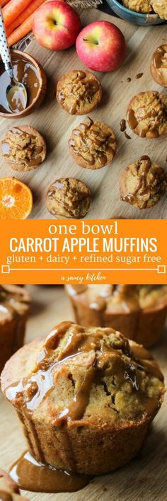 Carrot Apple Muffins loaded with fruit and veggies. A deliciously spiced muffin that's perfect for snacking or on the go breakfast made in one bowl! Gluten Free +Dairy Free + Refined Sugar Free (Breakfast On The Go) Sugar Free Recipes, Baby Food Recipes, Gluten Free Recipes, Baking Recipes, Easy Recipes, Dairy Free Recipes For Kids, Baking Tips, Bread Baking, Bread Recipes