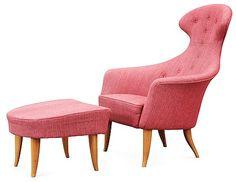A Kerstin Hörlin-Holmquist 'Stora Eva' armchair with ottoman, Nordiska Kompaniet, Nyköping 1950's-60's.