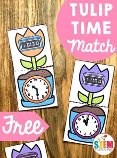 Tulip Time Match - The Stem Laboratory Telling Time Games, Telling Time Activities, School Age Activities, Teaching Time, Spring Activities, Craft Activities For Kids, Kindergarten Activities, Toddler Activities, Teaching Clock