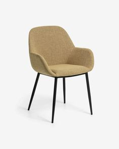 Konna chair in mustard corduroy   Kave Home Home Sofa, Steel Frame Construction, Design Tisch, Fabric Dining Chairs, Chair Price, Foot Rest, Armchair, Furniture, Home Decor