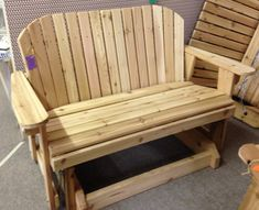 Great Garden Bench Glider for Patio Backyard Furniture, Porch Furniture, Furniture Plans, Wood Furniture, Outdoor Furniture, Adirondack Chairs, Outdoor Chairs, Outdoor Decor, Garden Storage Bench