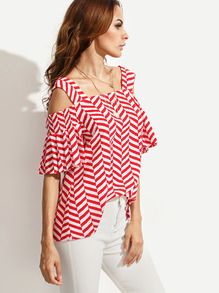 Red Striped Cold Shoulder Blouse