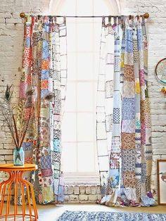 ✽ boho patchwork curtains - i bocconcini di beach eau Patchwork Curtains, Boho Curtains, Window Curtains, Unique Curtains, Sewing Curtains, Beige Curtains, Patterned Curtains, French Curtains, Elegant Curtains