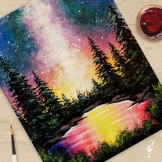 Bright Forest shipped directly to your home! Create this beautiful piece of art in the safety of your home. Cute Canvas Paintings, Small Canvas Art, Easy Canvas Painting, Diy Painting, Painting & Drawing, Watercolor Paintings, Beautiful Paintings Of Nature, Nature Paintings, Oil Pastel Art