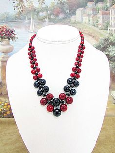 Coral and Black Necklace - c10 by daksdesigns on Etsy
