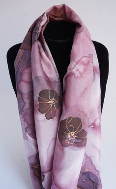 2bf73ca579535 painted silk scarf silk painted scarf pink flower pink silk | Etsy Pink  Highlights, Plum