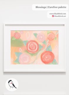 BlushBird is an online store that sells affordable art, organized by color palettes and is available as prints, canvas, tote bags and pillows. Green Colour Palette, Green Colors, Girls Bedroom, Bedroom Decor, Princess Flower, Peach And Green, Affordable Art, Pastel Pink, Blessings