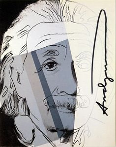 "Andy Warhol (American, 1928 - 1987). ""Albert Einstein [announcement/invitation]"". Color offset lithograph. 1980. Signed in black marker. Edition of c250. Cream smooth wove paper. The full sheet. Fine impression with bright colors. Very good condition; biographical information verso. Literature/catalogue raisonne: cf. Feldman/Schellmann II.229. Published by Ronald Feldman Fine Arts, Inc., NYC, for the exhibition ""Ten Portraits of Jews of the Twentieth Century"" at the Lowe Art Museum... UM, FL"