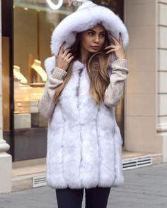 Vesta blana artificiala alba cu gluga eleganta Fur Coat, Casual, Jackets, Fashion, Lady, Down Jackets, Moda, Fashion Styles, Fashion Illustrations