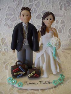 Deposit-  customized bride and groom travel wedding cake topper