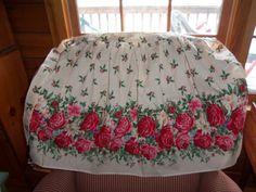 Vintage Apron pink  Red Roses 50's EX holly gorgeous by raggedy10, $12.00