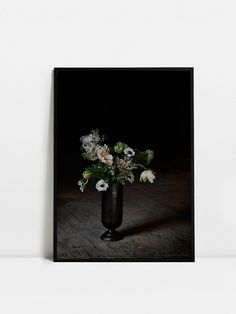 """""""People from a planet without flowers would think we must be mad with joy the whole time to have such things about us."""" /Iris Murdoch Artilleriet Art poster 50 x 70 cm. Frame not included. Pretty Pictures, Still Life, Flower Arrangements, Printer, This Is Us, Wall Decor, Vase, Iris Murdoch, Interior"""