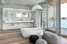 Soak in the standalone tub as you enjoy unabated Bay Views