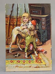 Antique 1900s New Home Sewing Machine Trade Card Girl Dressing Up Dog | eBay